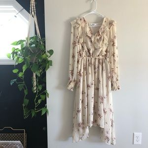 CJLA Floral Chiffon Midi Dress